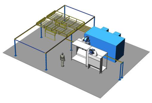 Полукольцевая линия порошковой окраски металлической мебели и оборудования