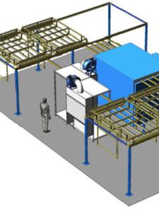 Кольцевая линия порошковой окраски сейфов и электротехнических шкафов с высокой производительностью